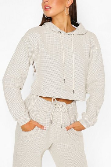 Stone beige Waffle Slouch Lounge Hoodie