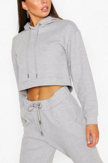 Grey Waffle Slouch Lounge Hoodie