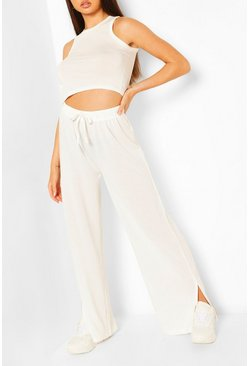 White Super Soft Split Leg Lounge Pants