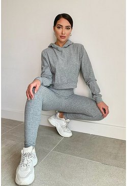 Grey Super Soft Rib Lounge Joggers