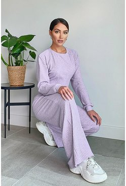 Lilac purple Super Soft Rib Wide Leg Lounge Pants