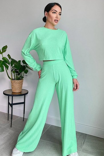 Mint green Super Soft Rib Wide Leg Lounge Pants