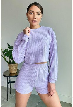 Lilac Super Soft Rib Lounge Top