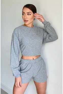 Grey Super Soft Rib Lounge Top