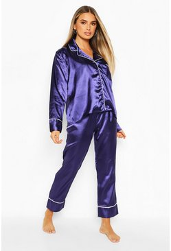 Navy Satin Button Through PJ Trouser Set