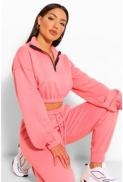 Dusky pink pink Oversized Zip Crop Lounge Sweater