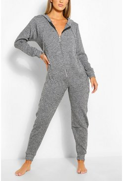 Strick-Jumpsuit, Grau