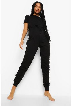 Black Loopback Short Sleeve Lounge Jumpsuit
