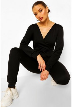 Black Loopback Wrap Front Lounge Jumpsuit