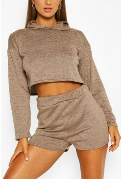 Stone beige Soft Melange Hoodie & Short Lounge Set