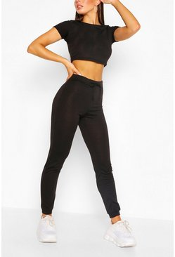 Black Soft Melange Crop Tee & Jogger Lounge Set