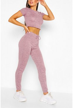 Pink Soft Melange Crop Tee & Jogger Lounge Set