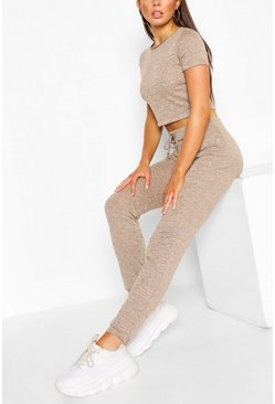 Grijs grey Zachte Melange Crop Top En Joggingbroek Lounge Set