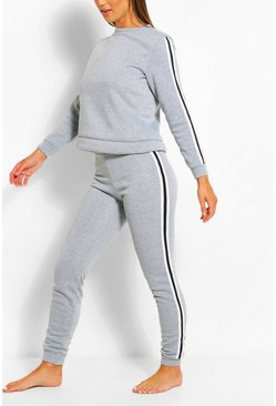 Grey marl grey Side Stripe Sweat & Jogger Set