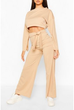 Camel beige Rib Flared Sleeve & Wide Leg Trouser Set