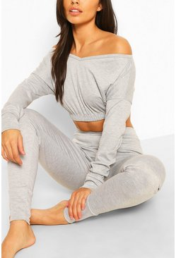 Grey marl Bardot Sweat Crop Top & Jogger Set