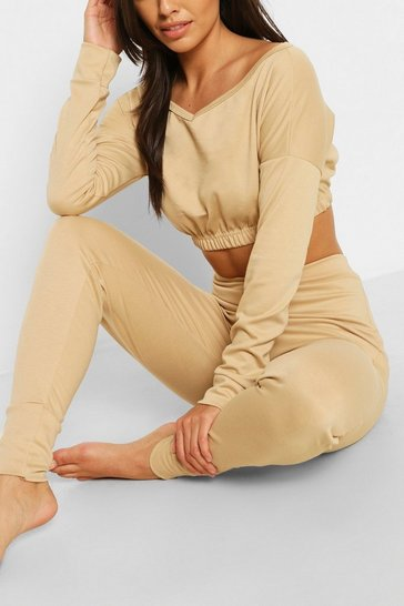 Nude Bardot Sweat Crop Top & Jogger Set