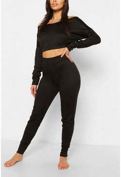 Black Bardot Sweat CropTop & Jogger Set