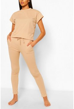 Ensemble t-shirt côtelé et jogging skinny, Couleur chair nude