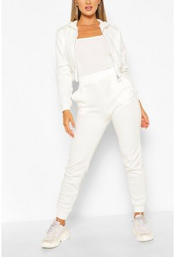White Hooded Zip Through Crop & Jogger Set