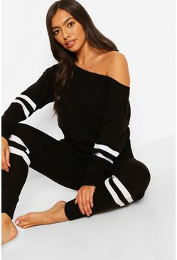 Black Sports Stripe Slash Neck Knitted Lounge Set