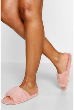 Pink Fluffy Slider Slippers