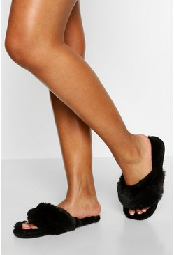 Black Super Fluffy Slider Slippers