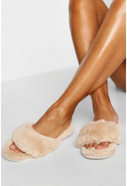 Cream white Super Fluffy Slider Slippers