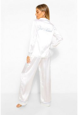 White Just Married Satin PJ Trouser Set