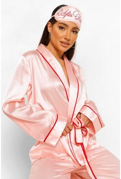Rose gold metallic After Party Embroidered Robe and Mask Set