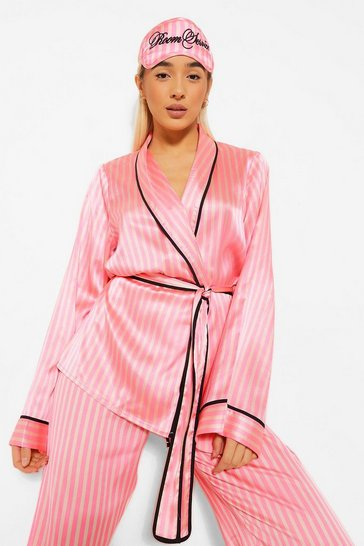 Pink Matching Room Service Candy Stripe Robe and Mask Set
