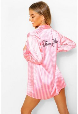 Pink Room Service Candy Stripe Bralet Shirt & Short Set