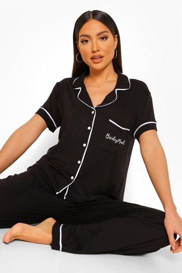 Black Bridesmaid Button Through Jersey PJ Set