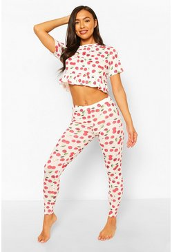 White Cherry Print Frill PJ Legging Set