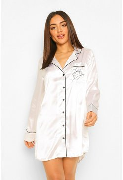 Love You Embroidered Sleep Shirt , White blanco