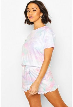 Mix & Match - Ensemble pyjama short effet tie-dye pastel à volants, Multi
