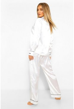 White Bride Embroidered Cuff PJ Set