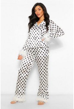 White Premium Polka Feather Trim Satin PJ Set