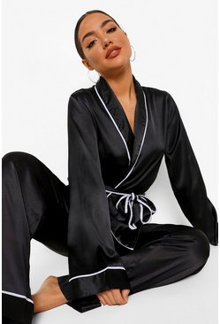 Black Matching Maid Of Honour Embroidered Satin Robe