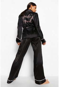 Black Matching Brides Squad Embroidered Satin Robe