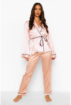 Blush pink Matching Brides Squad Embroidered Satin Robe