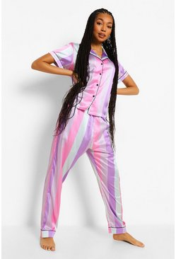 Multi Sherbet Candy Stripe Satin PJ Trouser Set