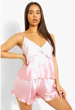 Peach orange Ombre Satin Ruffle Cami & Short Set