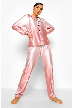 Peach orange Ombre Satin Button Through PJ Trouser Set