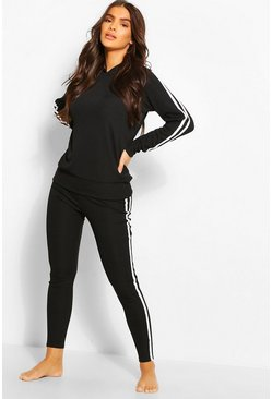 Black Rib Side Stripe Hooded Lounge Set