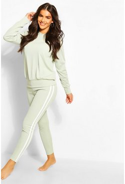 Sage Rib Side Stripe Hooded Lounge Set