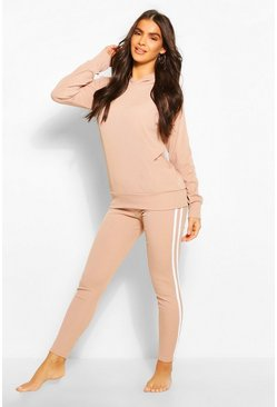 Sand beige Rib Side Stripe Hooded Lounge Set