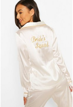 White Bride'S Squad Satin Pants Pj Set