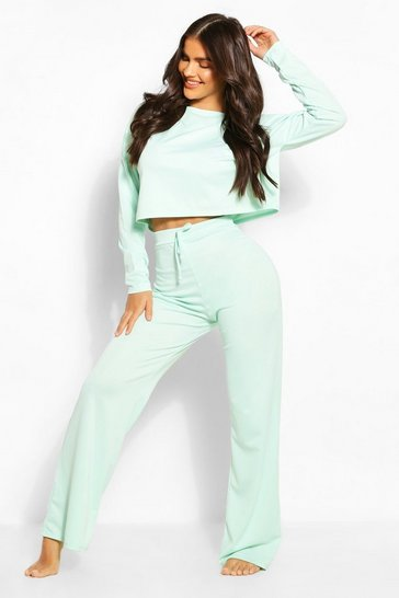 Aqua Puff Sleeve Wide Leg Lounge Set