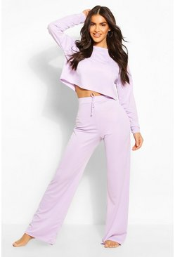 Lilac Puff Sleeve Wide Leg Lounge Set
